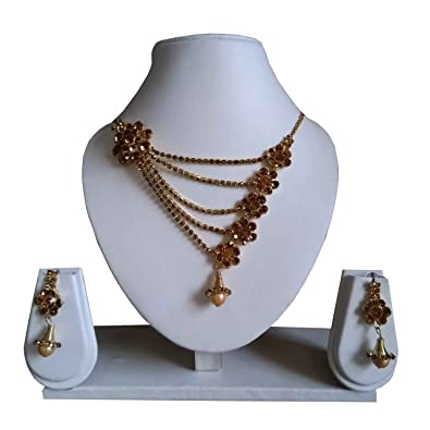 183b6cd40 Brown Necklace With Matching Pearls Earrings in Beautiful Colour With Best  Best Quality Metal: Amazon.in: Jewellery