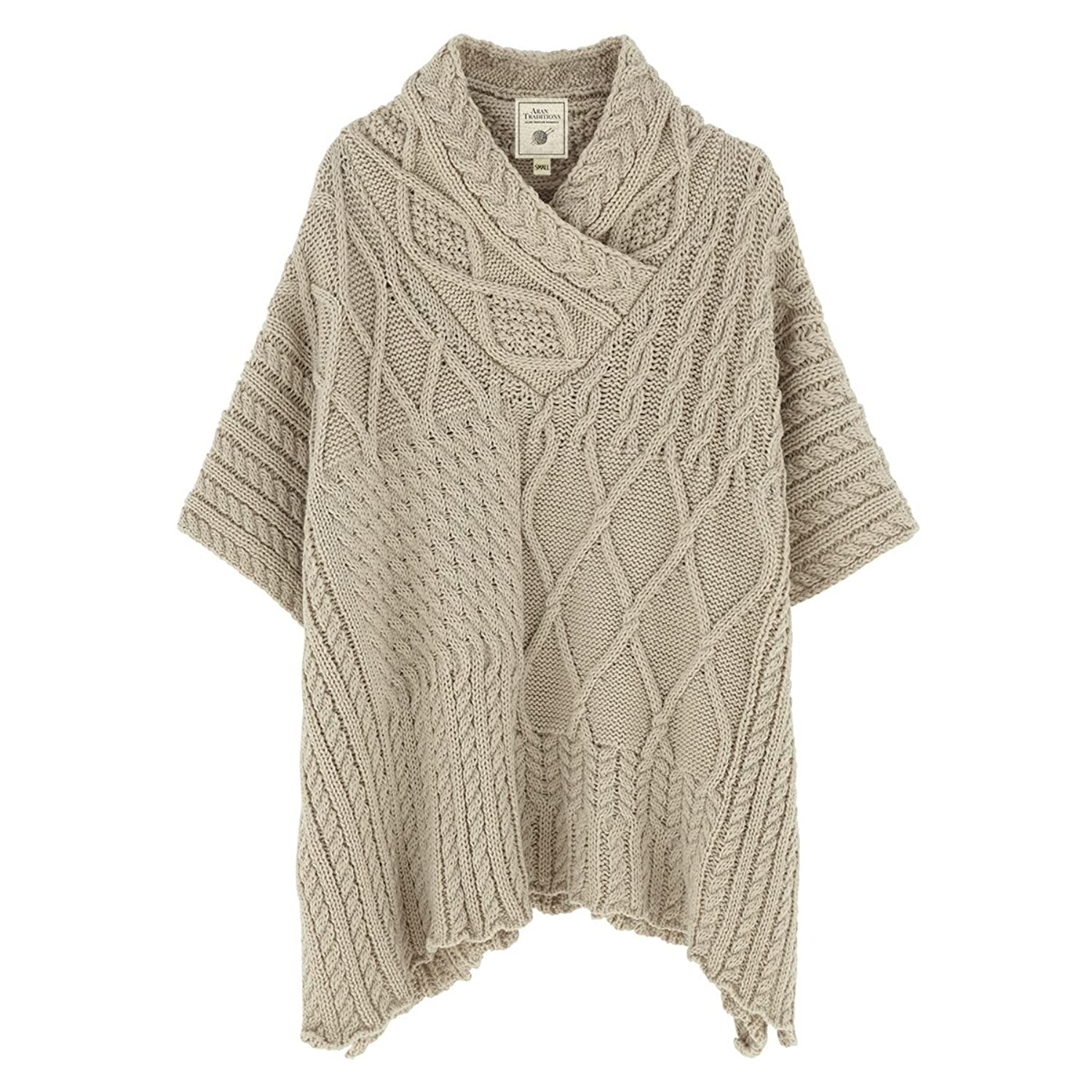 Aran Traditions Oatmeal Neck Cape Shawl