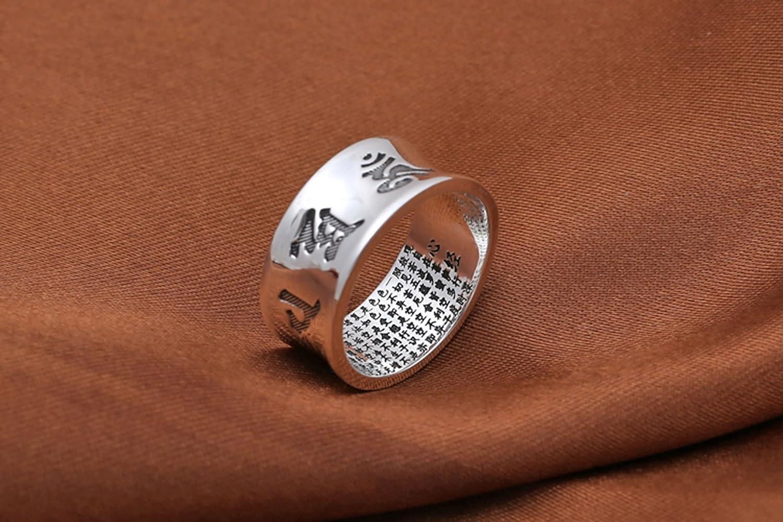 Bishilin 925 Ring Men Six-Word Mantra Memoirs Silver Men Rings Hip Hop
