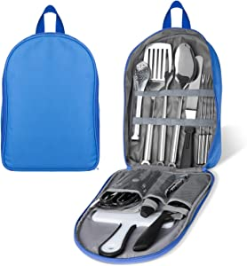 Portable Camping Kitchen Utensil Set, 27-Piece Stainless Steel Outdoor Cooking and Grilling Utensil Organizer Travel Set Perfect for Travel, Picnics, RVs, Camping, BBQs, Parties, Potlucks and more