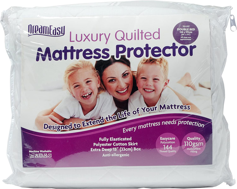 "Matelas matelassé Protecteur Deep 13/"" polyester coton jupe Easycare 110 GSM Fill"