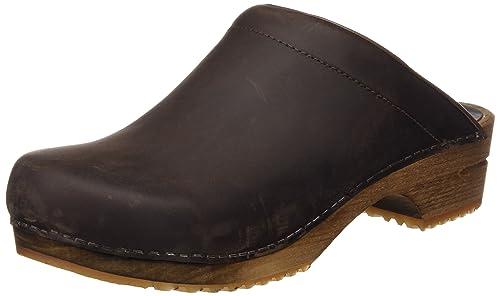 Sanita Wood-Chrissy open 1200009-78 - Zuecos de cuero para mujer, Antique Brown 78, 38