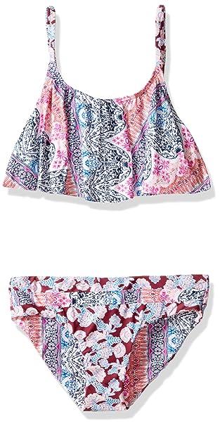 fe4e8211c2ec Amazon.com: O'Neill Big Girls' Cruz Ruffle Top Swimsuit, Multi, 7 ...