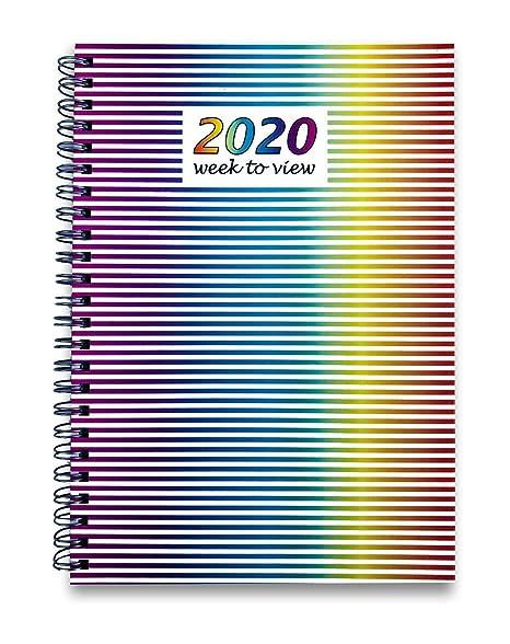 Agenda semanal de 2020, tamaño A5, tapa dura, espiral con ...