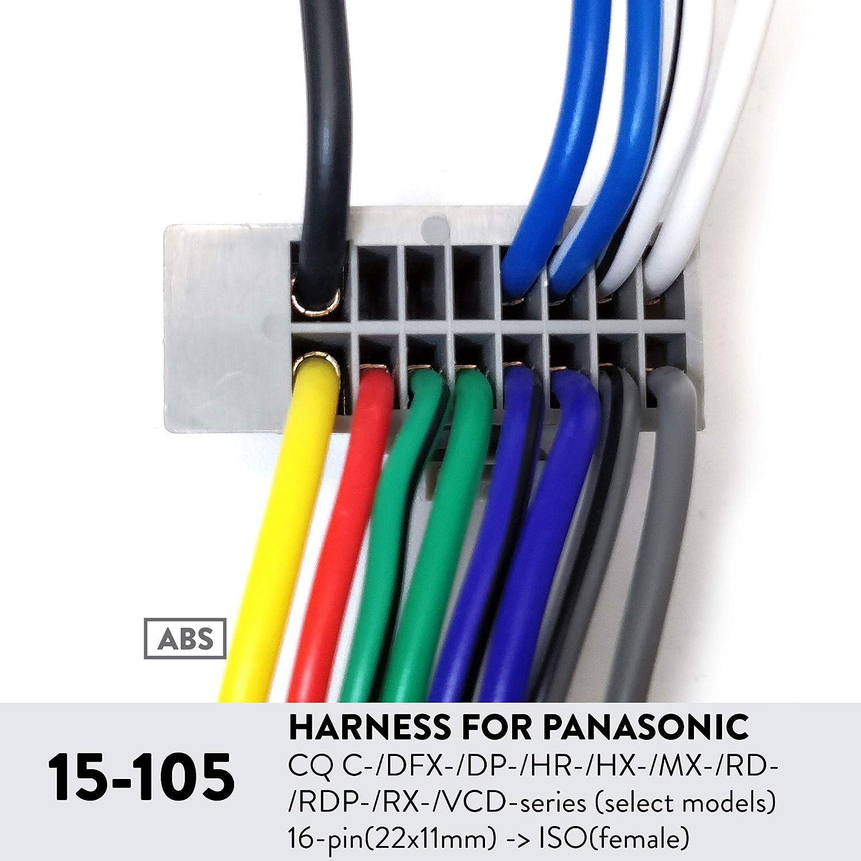 Ugar 15 105 Harness For Panasonic Cq C Dfx Dp Hr Hx Wiring Mx Rd Rdp Rx Vcd Series Select Models 16 Pin22x11mm Isofemale Car