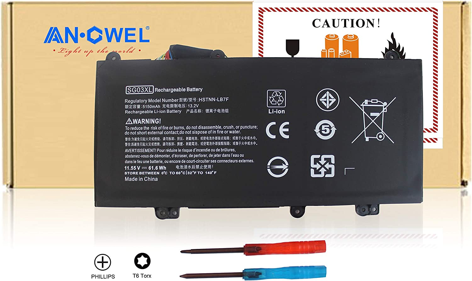 Angwel New SG03XL Laptop Battery for HP Envy M7-U 17t-U000 M7-U009DX 17-U011NR Notebook,Fit for P/N: TPN-I126 849315-850 849049-421 HSTNN-LB7F HSTNN-LB7E SG03041XL SG03061XL[11.1V 61WH] –1