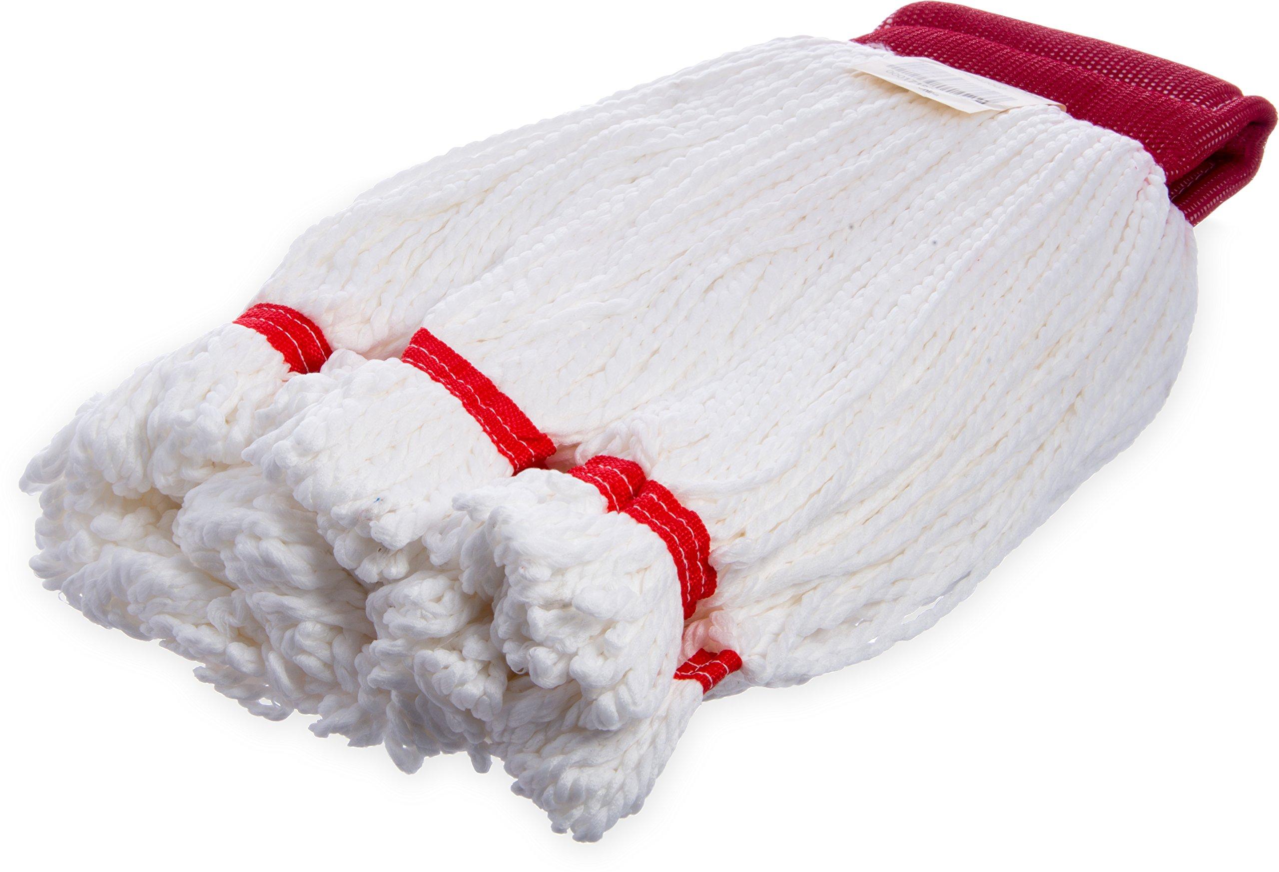 Carlisle 36942002 Microfiber Medium Loop End Red Band Mop, 20'' Length, White (Case of 12)