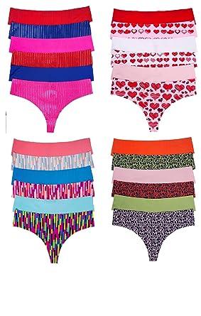 c5248c9538d Sexy Basics Women s 24 Pack Invisible No-Show Seamless Active Hi Waist  Sport Thong Panties