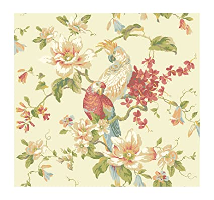 York Wallcoverings AK7460 Ashford House Blooms Tropical Birds With Magnolias Beiges