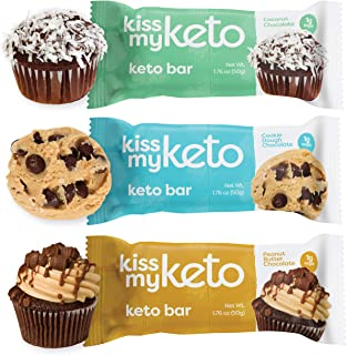 product image for Kiss My Keto Bars — Keto Protein Bars Low Carb Low Sugar + MCT Oil   Variety, 36 Pack   Keto Snack Bars Rich in Nutritious Fats & Collagen — 10 Grams Protein, 4 Grams Net-Carbohydrate, 1 Gram Sugar