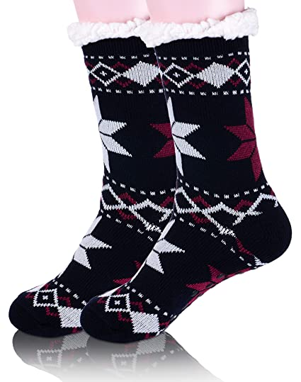 womens fuzzy slipper socks snowflake christmas fleece lined cozy warm fluffy winter socks with grippers - Christmas Fleece
