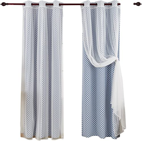 Deconovo Grommet Top Panels Azure Blue Moroccan Print Thermal Insulated Bedroom Window Blackout Two Tulle Lace Sheer Curtains