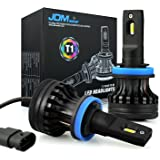 JDM ASTAR Newest Version T1 10000 Lumens Extremely Bright High Power H11 H9 H8 All-in-One LED Headlight Bulbs Conversion Kit, Xenon White