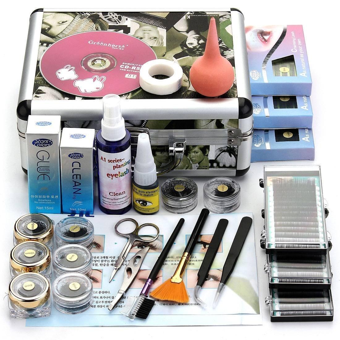 Amazon.com : False Eyelash Makeup Kit - TOOGOO(R)Professional False Eyelash Extension Cosmetic Makeup Kit Set with Case Salon Tool Gift : Beauty