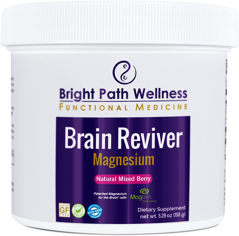 Brain Reviver Magnesium 60 Servings Natural Mixed Berry Powder Non GMO Gluten Free Brain and Cognitive Health Restore Brain Function cGMP