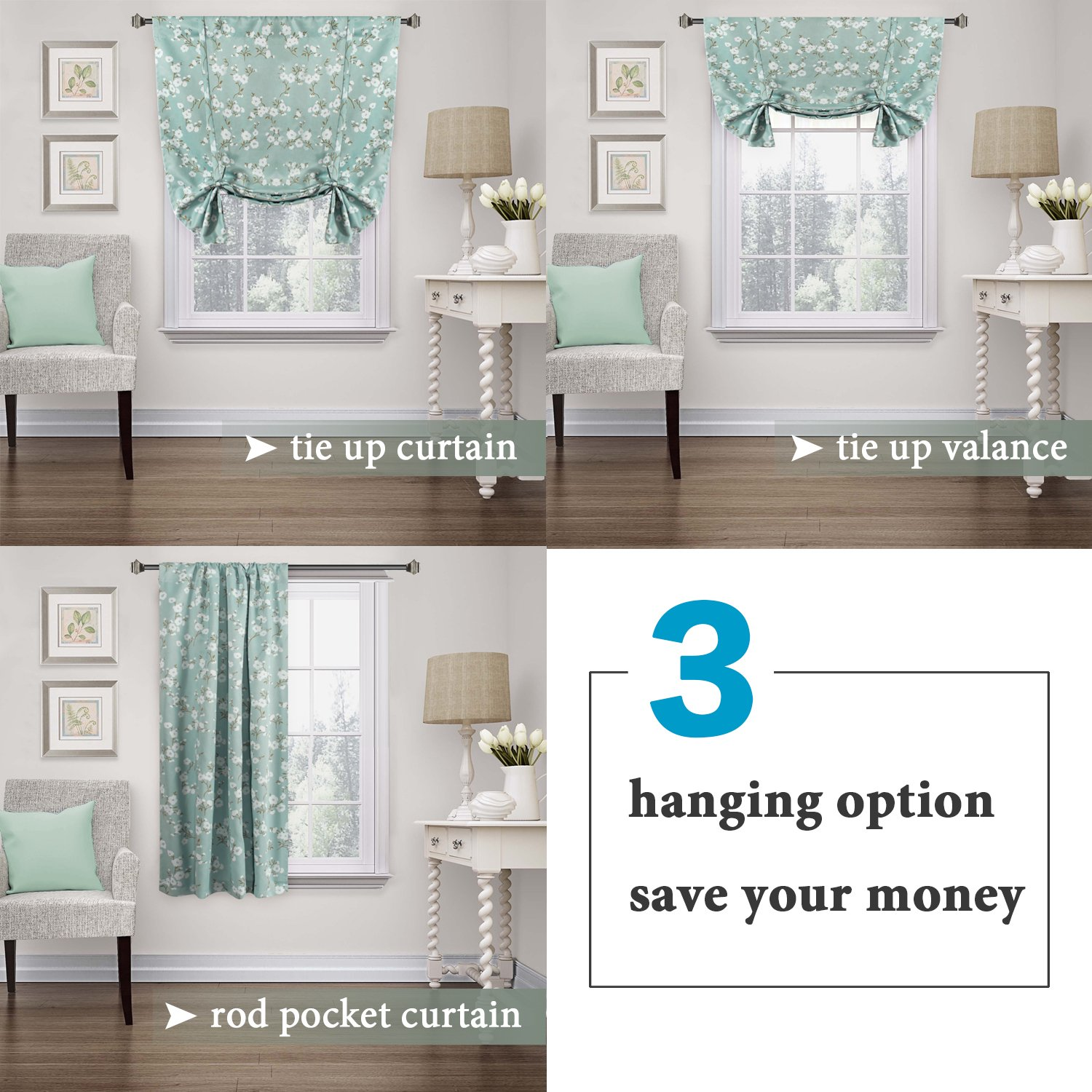 H.VERSAILTEX Traditional Window Drapes Aqua Floral Country Style Pattern Thermal Insulated Blackout Curtain for Living Room Rod Pocket Tie Up Shade Window Treatment Panel, W42 x L63 Inch by H.VERSAILTEX (Image #3)