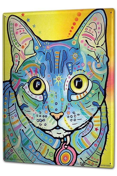 Cartel Letrero de Chapa XXL Gato Gato de colores