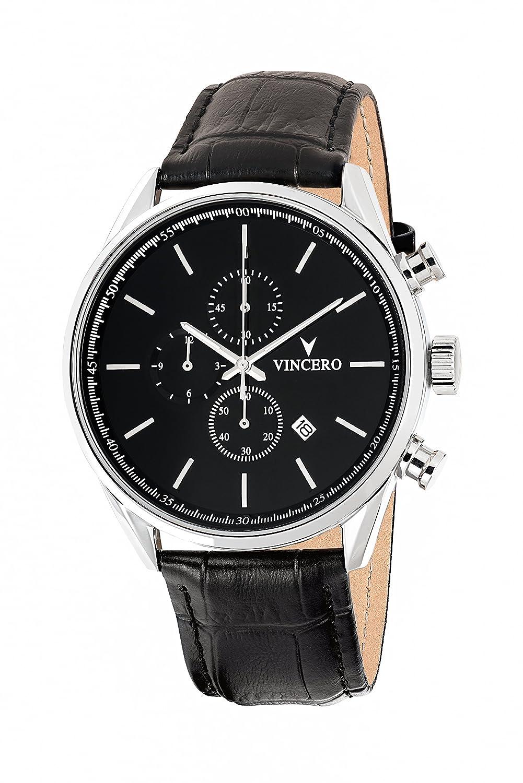 chrono-s Class schwarz-silber Armbanduhr mit italienischem Marmor CaseBack