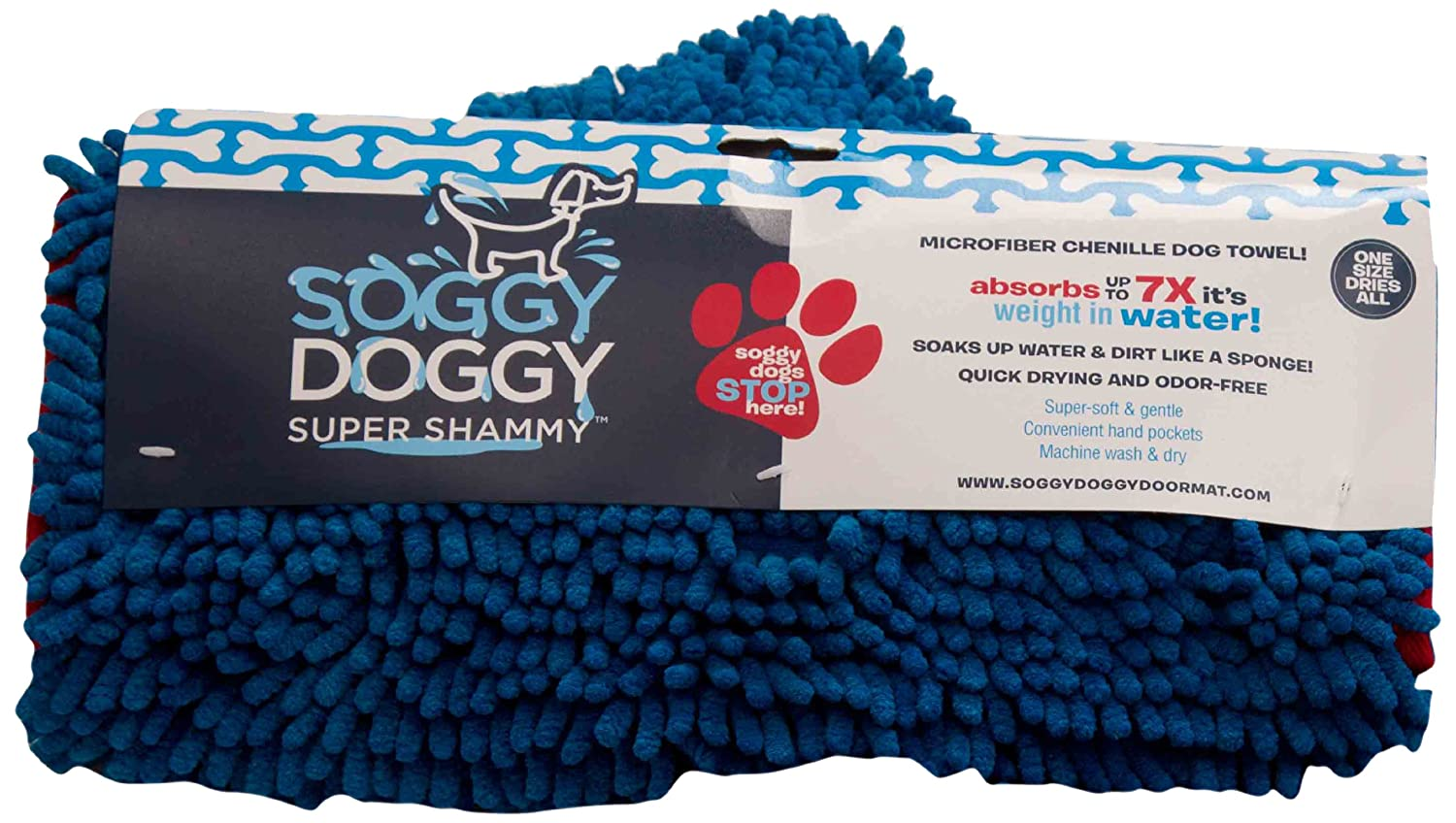 bluee Soggy Doggy Super Shammy bluee One Size 31-inch x 14-inch Microfiber Chenille Dog Towel with Hand Pockets