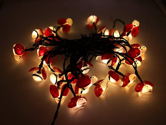 Aukora Solar String Lights Outdoor, 30 LED Fairy Lights Ladybug Solar  Powered Lights For Garden