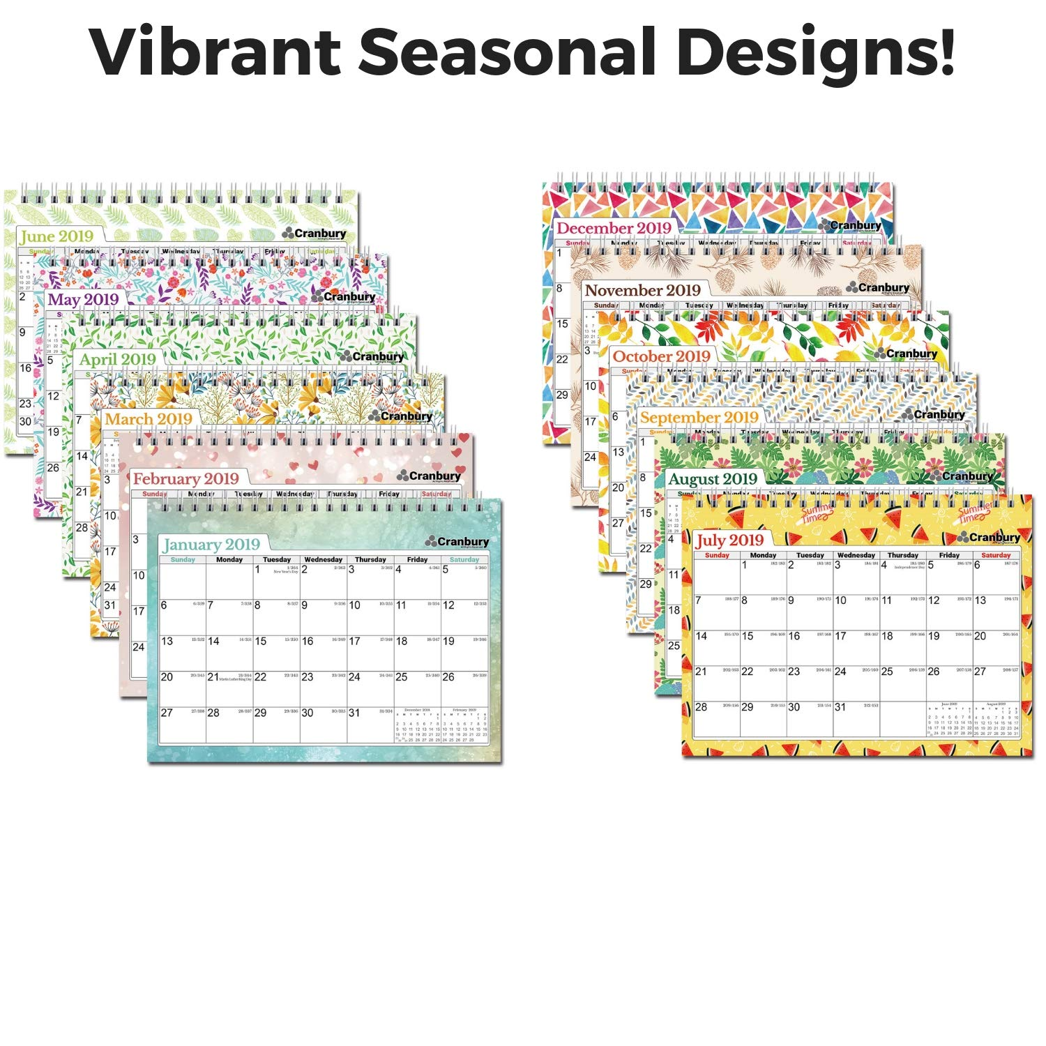Cranbury Small Desk Calendar 2019 Monthly: Flip Desktop Counter Top Calendars with Bonus Planner Stickers for Family and Office, 8''x6'' (Colorful), Sturdy, USE Now Through December 2019 by Cranbury (Image #5)