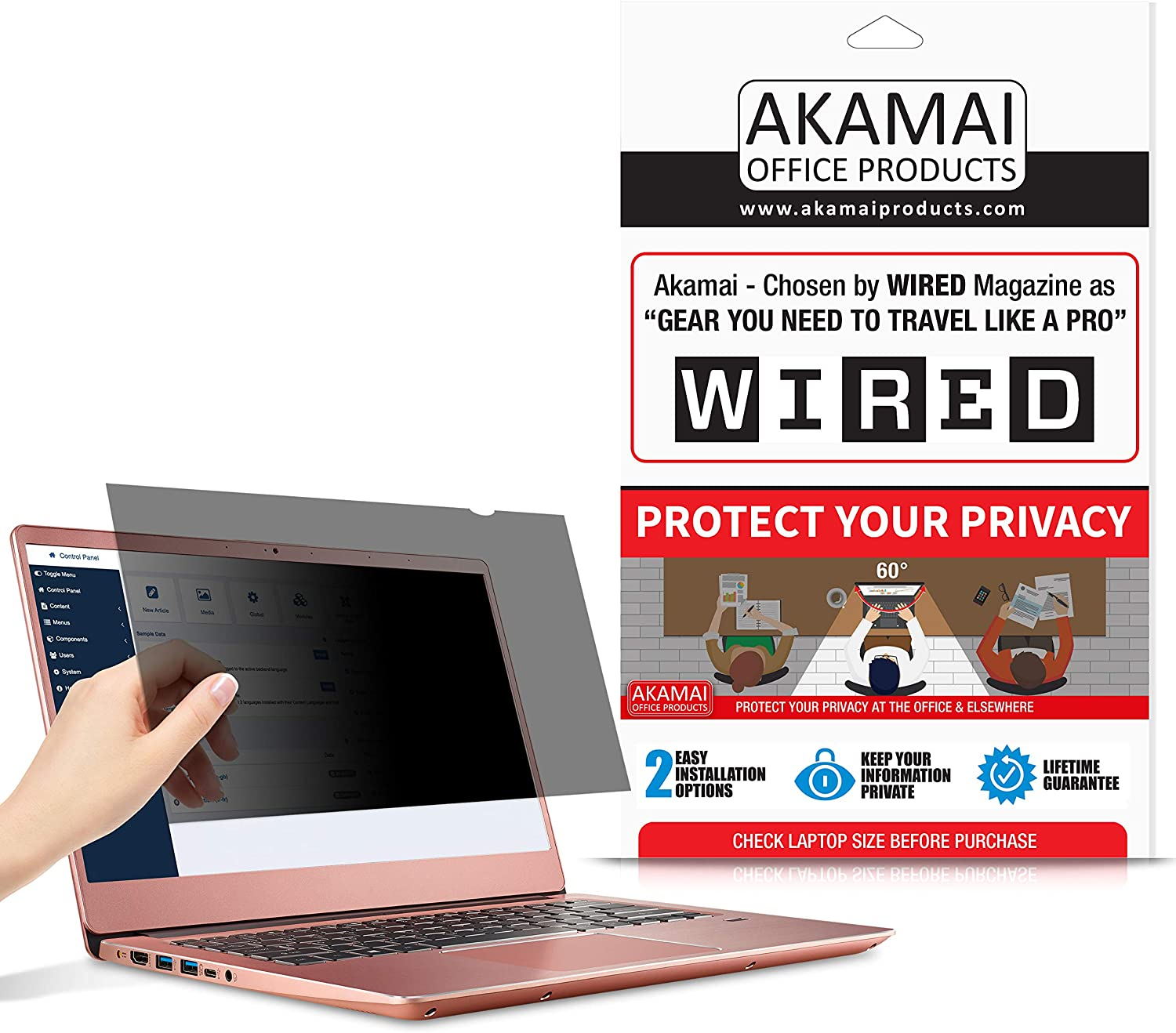 "14"" Akamai Computer Privacy Screen (16:9) - Black Security Shield - Laptop Monitor Protector - UV and Blue Light Filter"