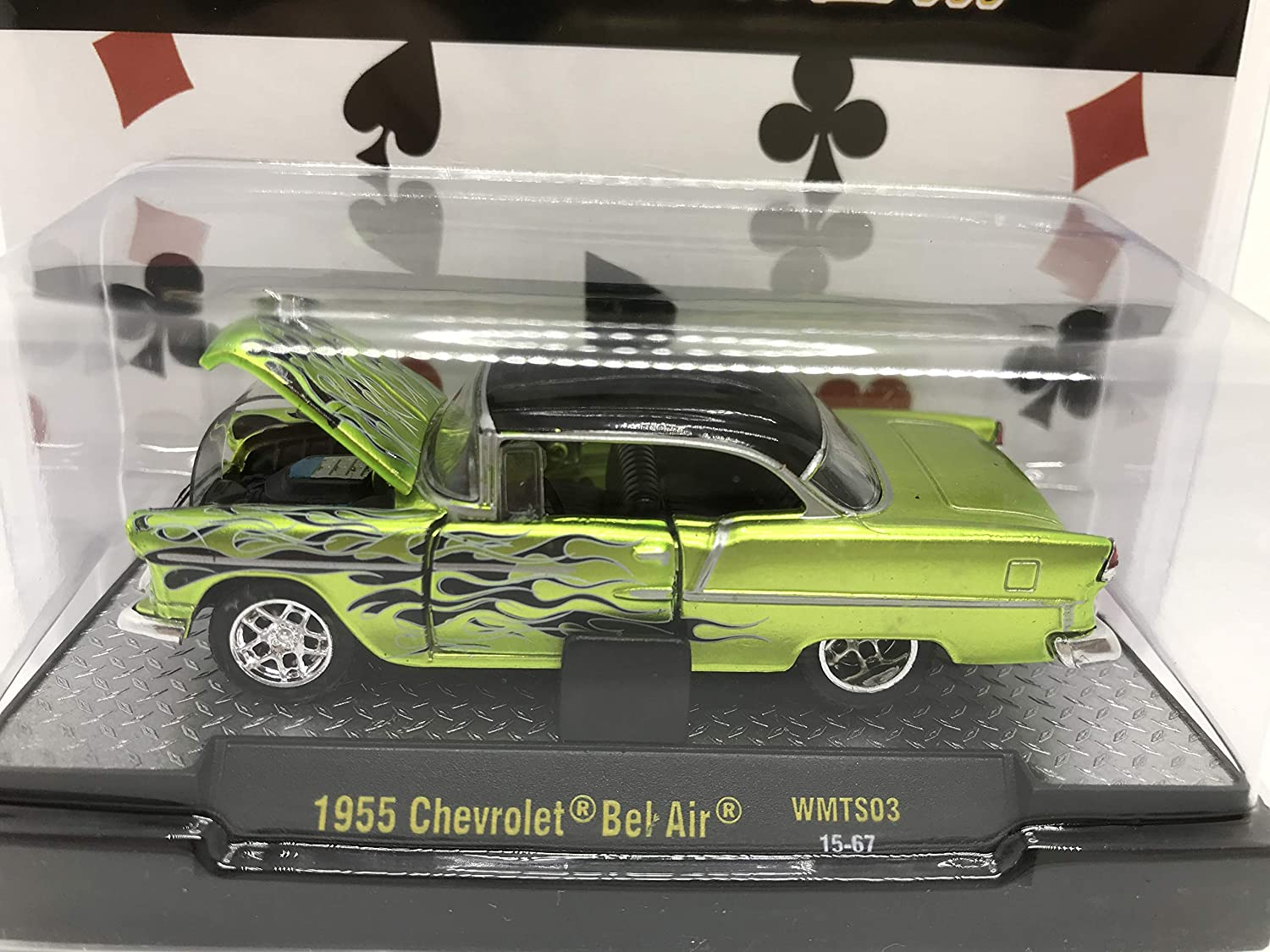 M2 Machines by M2 Collectible Wild-Cards 1955 Chevy Bel Air 1:64 Scale WMTS03 15-67 Neon Green//Black Flames Details Like NO Other!