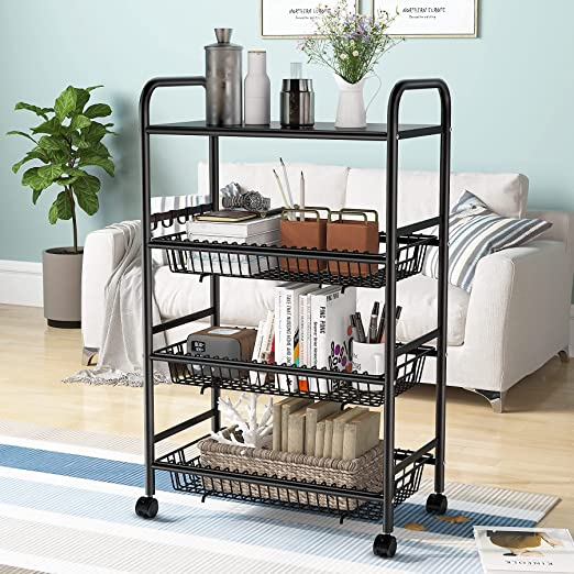 4-Tier Rolling Utility Cart, Kitchen Cart with Wheels, Heavy Duty Storage Cart with 8 Hooks and 3 Removable Wire Basket, Utility Shelf Storage Trolley for Kitchen, Living Room