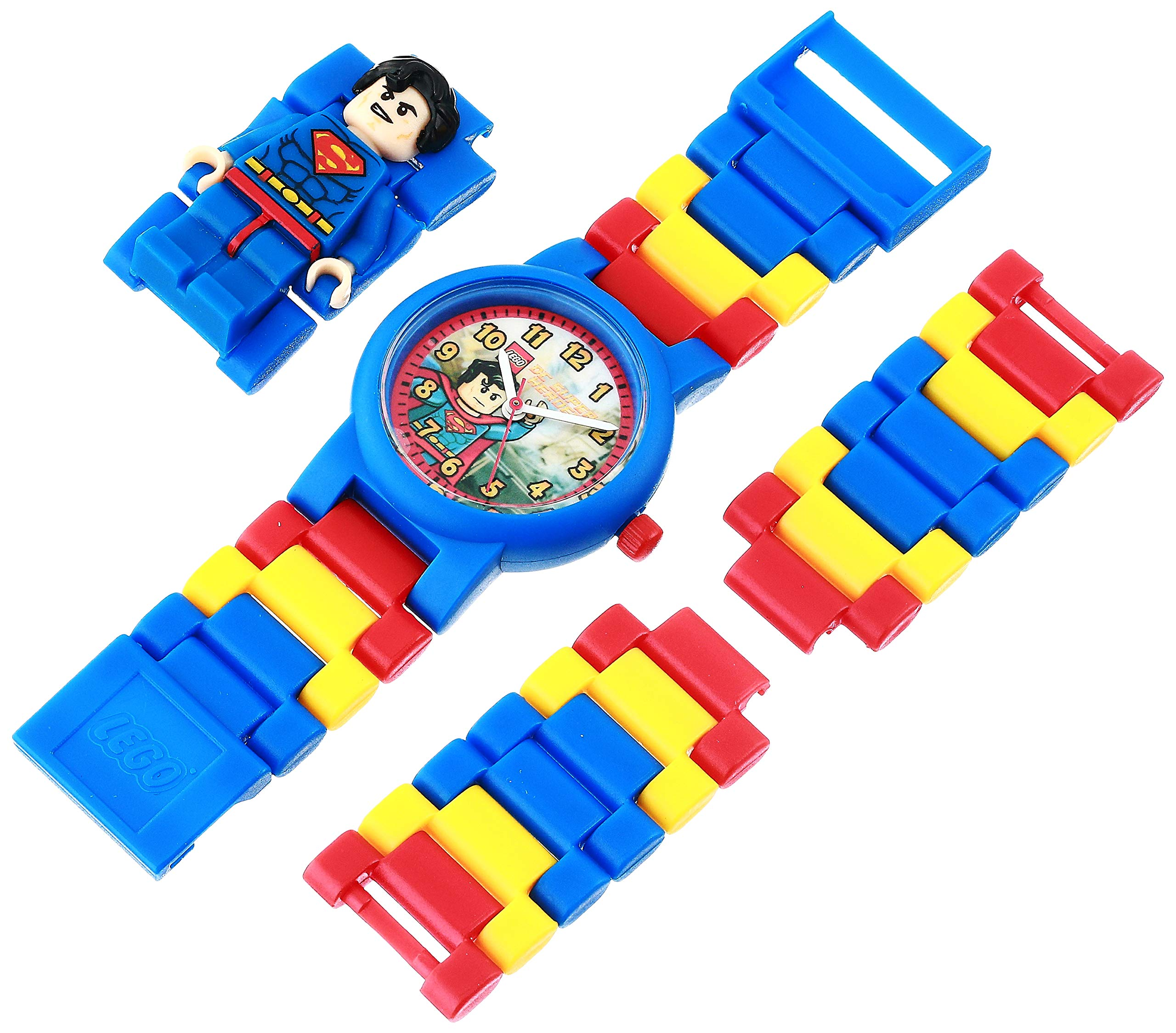 LEGO DC Comics 8020257 Super Heroes Superman Kids Minifigure Link Buildable Watch | blue/red | plastic | 25mm case diameter| analog quartz | boy girl | official by ClicTime