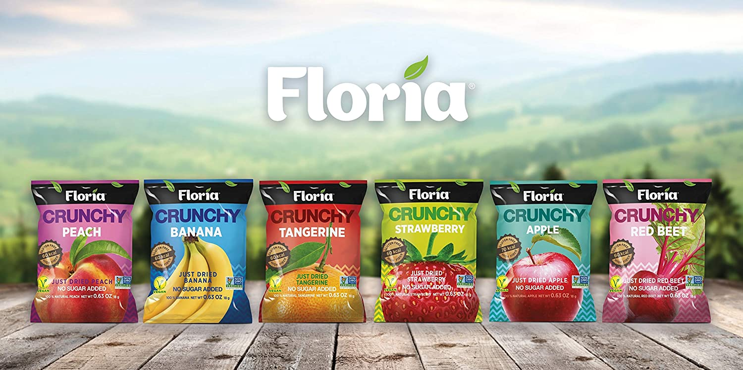 Fruit Crisps Variety Pack, Dried Fruit Healthy Snack Chips, No Sugar Added, Non GMO, Gluten Free, Vegan, 0.63 Ounce Bags (Pack of 10) - Floria Crunchy