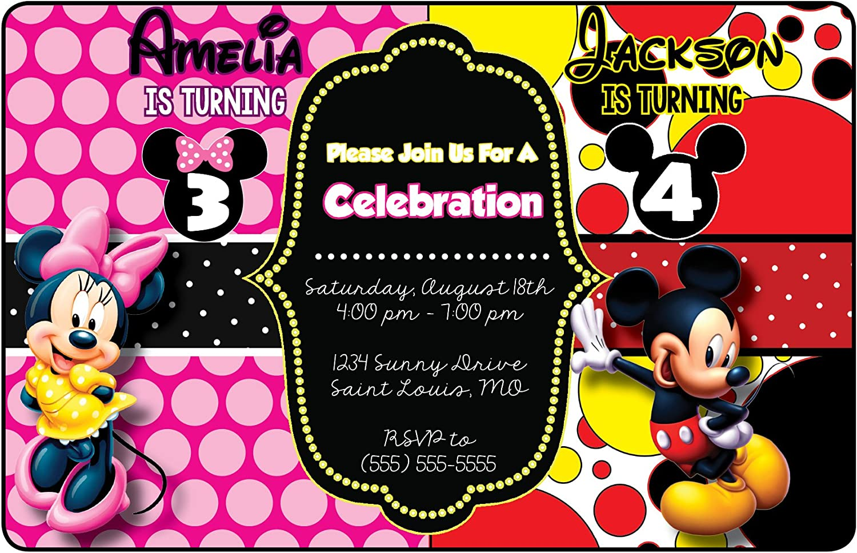 Mickey Mouse Minnie Mouse Invitations For Twins SAME DAY SVC Mickey Mouse Invitation For Twins Siblings Invitaiton