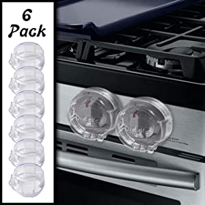 Clear Stove Knob Safety Covers - 6-Pack - Large Design - Protect Little Kids with A Child Proof Lock for Oven/Stove Top/Gas Range - Baby/Toddler Kitchen Safety Guard - Diddle