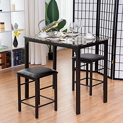 Amazon Com Kchex 3 Pcs Counter Height Dining Set Faux Marble