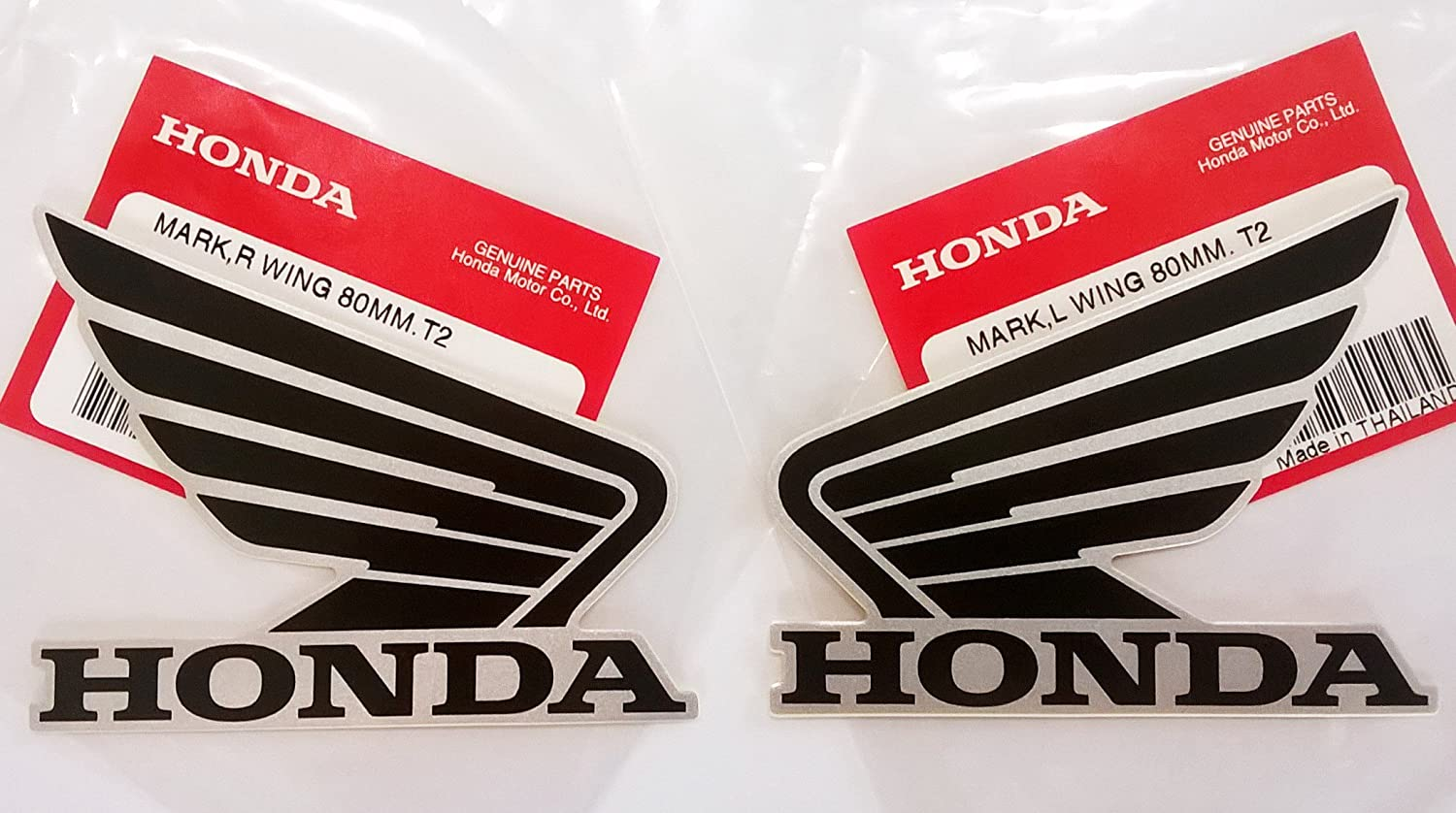 Amazon com honda wings fuel tank gas tank stickers decals 2 x 80mm black metallic silver left right brand new 100 genuine automotive