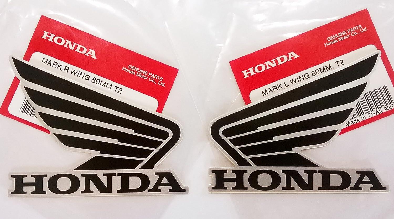 Amazon com honda wings fuel tank gas tank stickers decals 2 x 80mm black metallic silver left right brand new 100 genuine automotive
