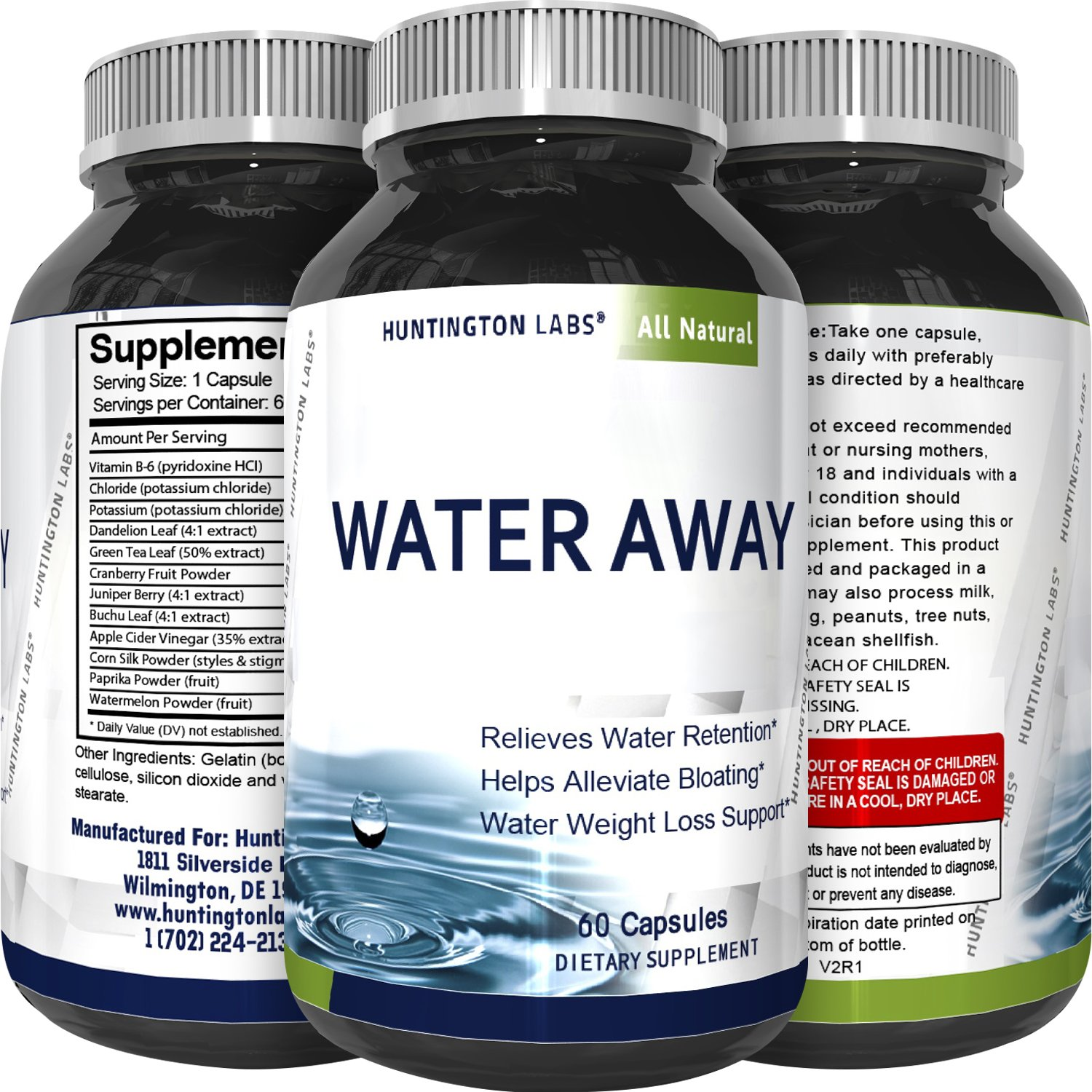 Water Away Supplement Diuretic Pills for Men & Women - Reduce Water Retention Natural Dandelion Leaf Pure Green Tea Juniper Berry Vitamin B-6 for Water Balance and Bloating Relief by Huntington Labs