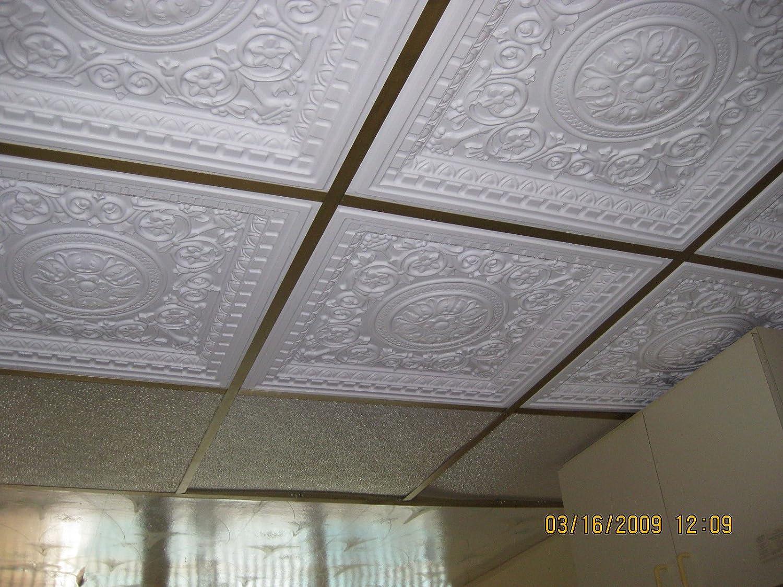 Amazon Ceiling Tile 142 White Matt Glue Up Plastic 2x2 Fire