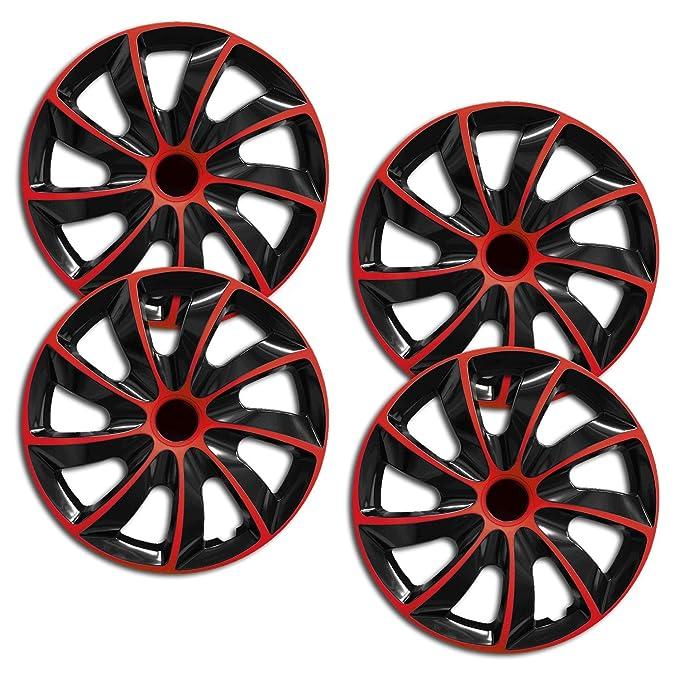 Tapacubos de Koenig Quad bicolor en negro/rojo universal de Tapacubo (BIC Rojo 16 pulgadas universal): Amazon.es: Coche y moto