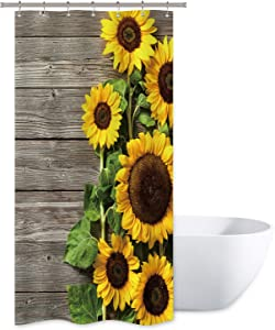 Riyidecor Sunflower Shower Curtain Wood Rustic Floral Spring Blooming Flower Plank Primitive Country Woman Waterproof Fabric Bathroom Bathtub Home Decor Set 36x72 Inch 7 Shower Plastic Hooks