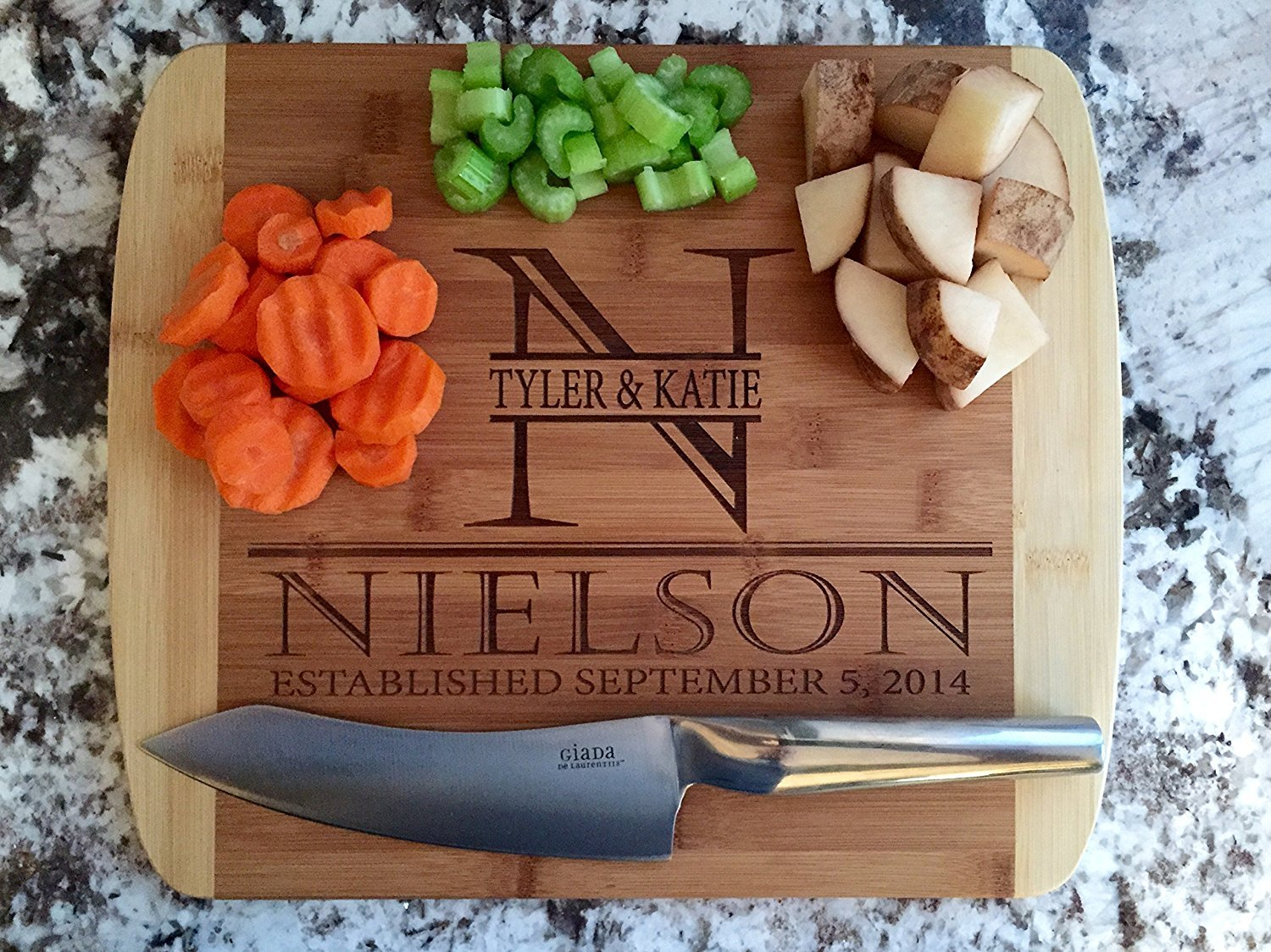 Personalized Cutting Board for Wedding Gifts - Wood Cutting Boards, Also Bridal Shower and Housewarming Gifts (11 x 14 Two Tone Bamboo with Curved Edges, Nielson Design)