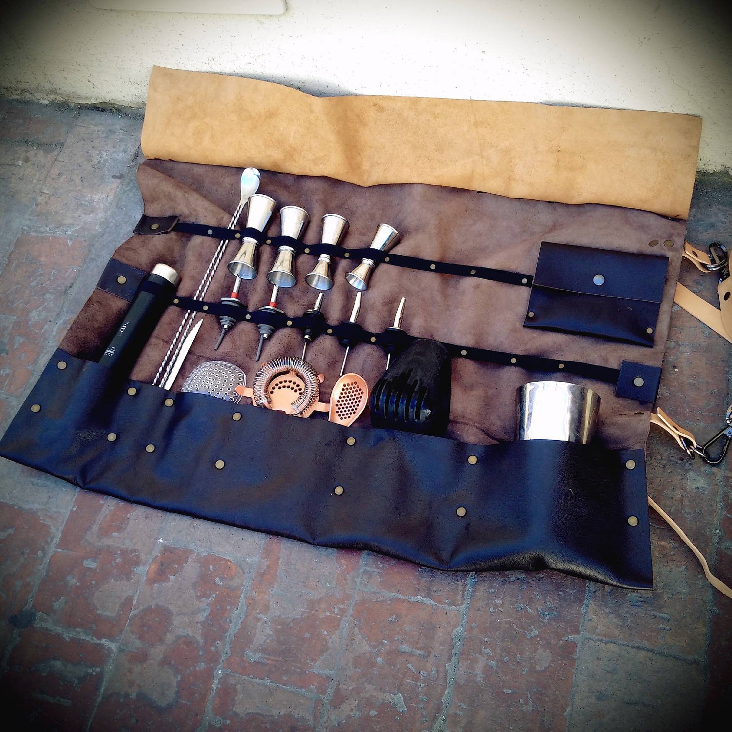 Barman Leather Bag Stock Exchange Handmade Leather Full Grain Leather Bartender Made in Italy Bar tool holder tools custody Roll The Westlands Skin Fai una domanda by The Westlands