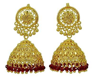 7c10977a1 Amazon.com: Banithani 18K Goldplated Ethnic Traditional Jhumka Earring  Women Wedding Jewelry: Jewelry