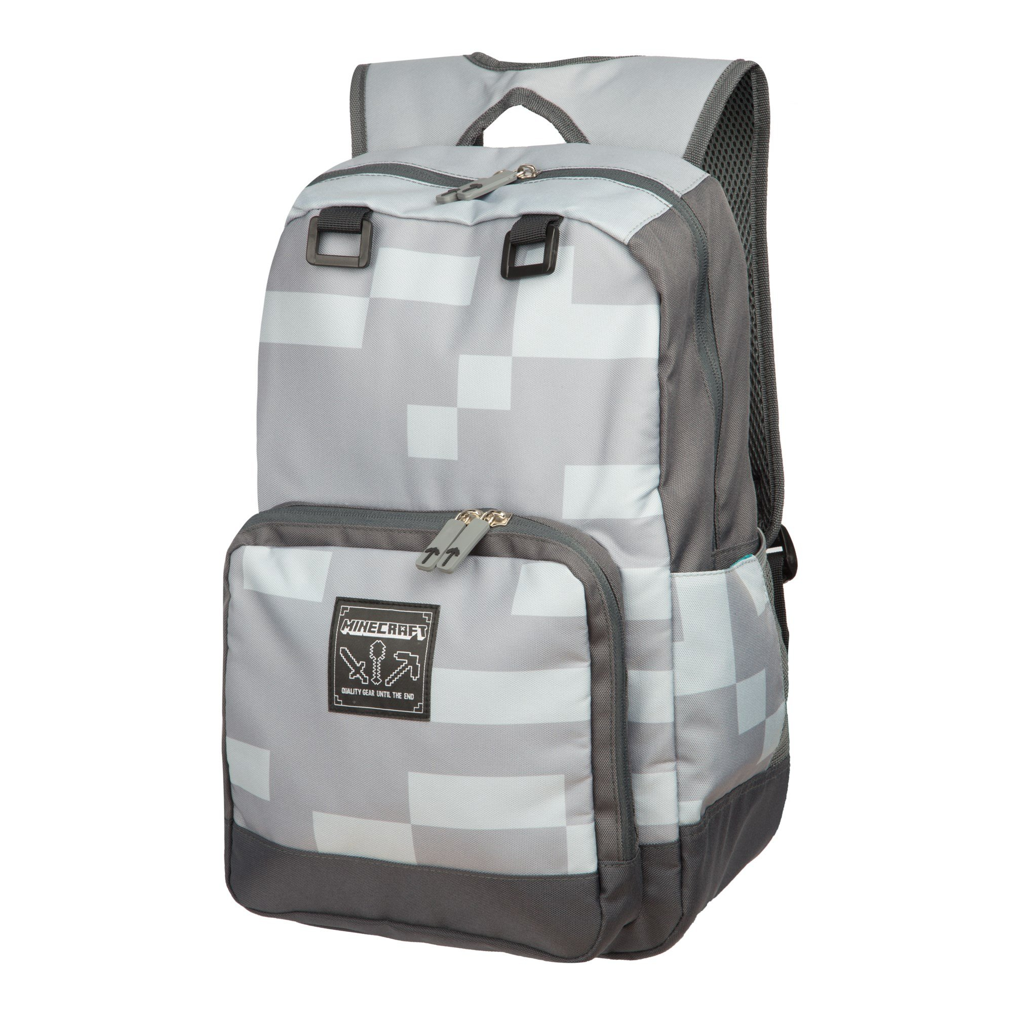 JINX Minecraft Miner Kids Backpack (Grey, 18'') for School, Camping & Fun by JINX