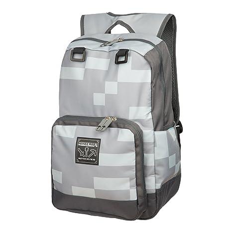 d3efa325aa18 JINX Minecraft Miner Kids Backpack (Grey, 18
