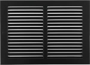 "12""w X 8""h Steel Return Air Grilles - Sidewall and Ceiling - HVAC Duct Cover - Black [Outer Dimensions: 13.75""w X 9.75""h]"