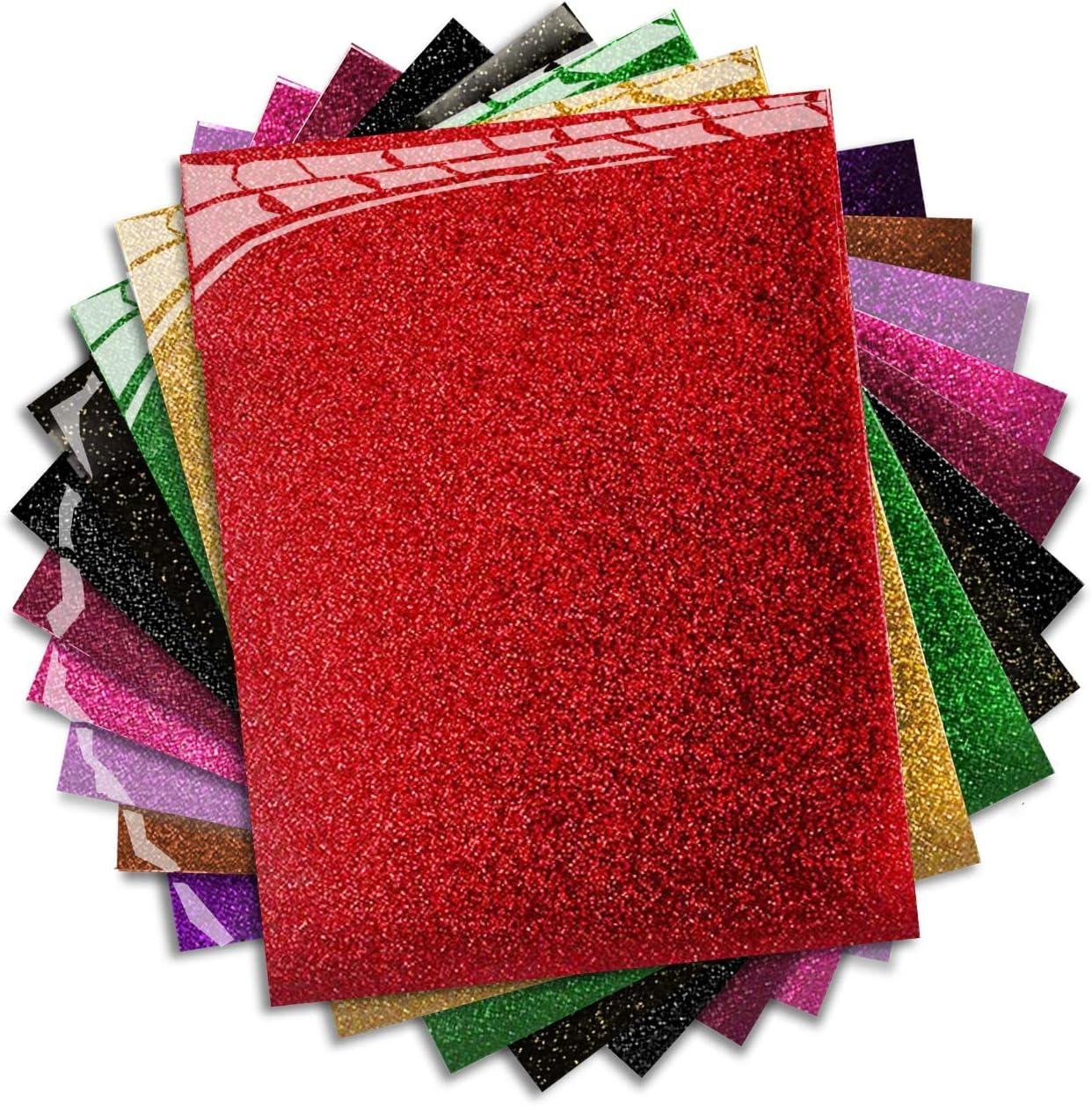 Iron On Vinyl Starter Pack Easy to Cut Weed /& Press Assorted Bundle Kit of Heat Press Vinyl in 10 Most Popular of HTV Glitter /& Plain Colors 10 x Pack MiPremium PU Heat Transfer Vinyl HTV