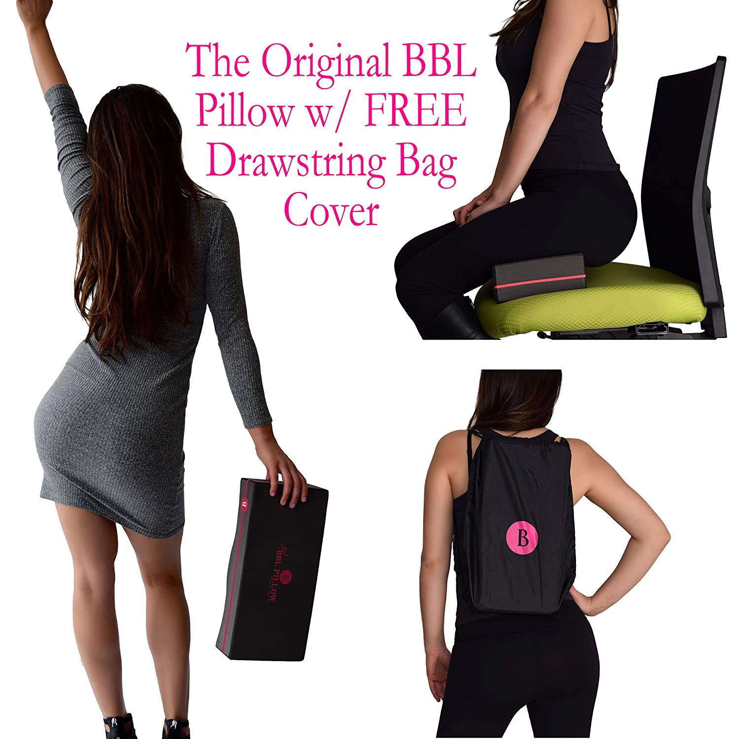 BBL Pillow ⭐️⭐️⭐️⭐️⭐️ The Original Brazilian Butt Lift Pillow - Dr   Approved for Post Surgery Recovery Cushion + Drawstring Cover
