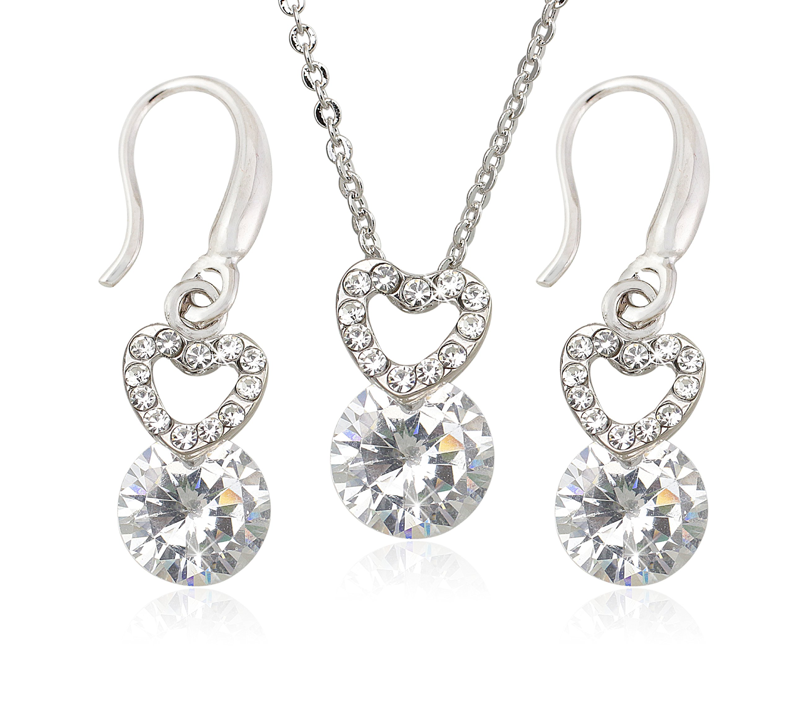 Crystal Heart Necklace with Cubic Zirconia Heart Dangle Earrings - For Girlfriend, Mom and Special Girls