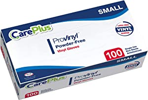 [100 Count] Careplus Disposable Plastic Pro Vinyl Clear Small Gloves, Allergy, Latex And Powder Free, Great For Home Kitchen Or Office Cleaning, Cooking, 1 Box