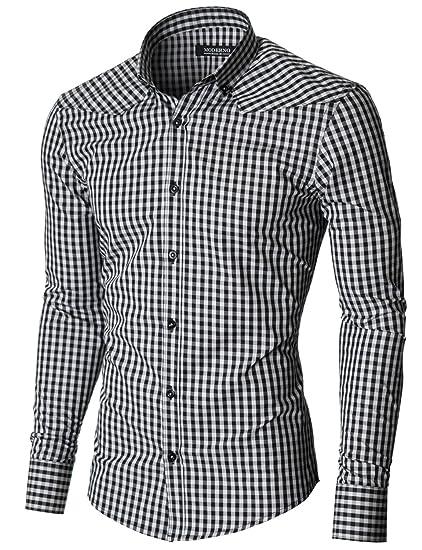 Moderno Mens Checkered Shirts Dress Slim Fit Long Sleeve Button Down